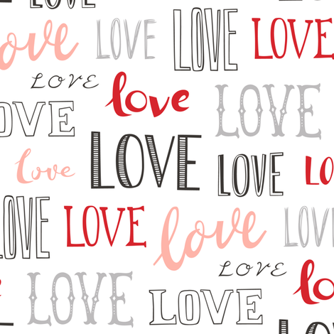 Love Word Typography Valentine Pink Red fabric by caja_design on Spoonflower - custom fabric