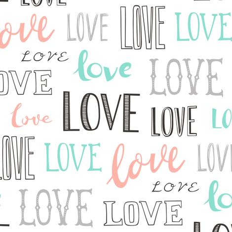 Love Word Typography Valentine fabric by caja_design on Spoonflower - custom fabric