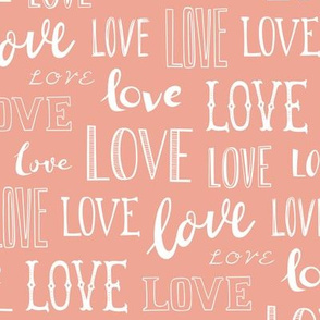 Love Word Typography Valentine Peach