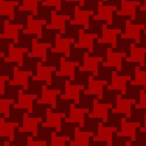 Scarlet and Burgundy Square Houndstooth