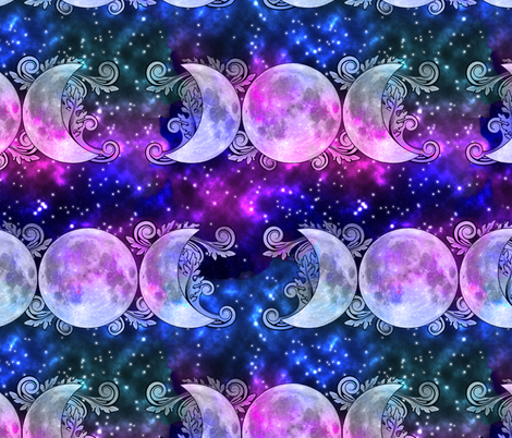 Triple Goddess Moons and Stars fabric by tracy_dixon on Spoonflower - custom fabric