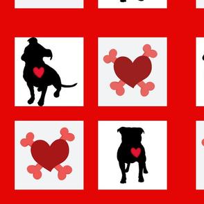 Staffie / pitbull quiltblocks
