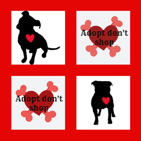 Staffie adoption quilt block (3) fabric by cleverlittlestaffie on Spoonflower - custom fabric