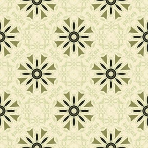 Modern Floral in Greens and Cream