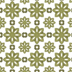 Just Green Flowers on Cream