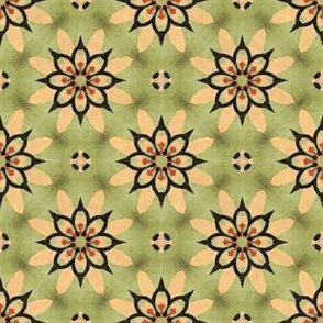 Green, Tan and Black Floral