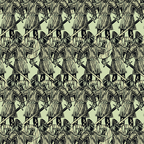 viking on beige/green fabric by susiprint on Spoonflower - custom fabric