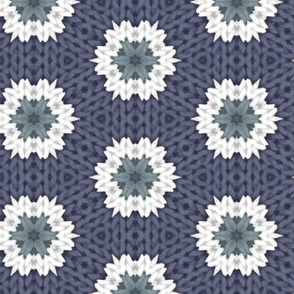 Knitted Snowflakes on Dark Blue