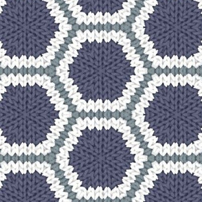 Knitted Blue and White Hexagons