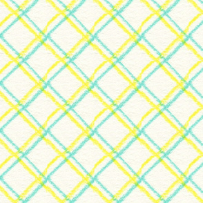 Teal Yellow Squares 4 Warped
