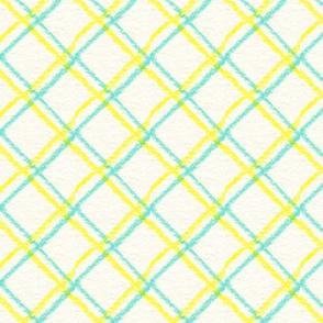 Teal Yellow Squares 4 Warped