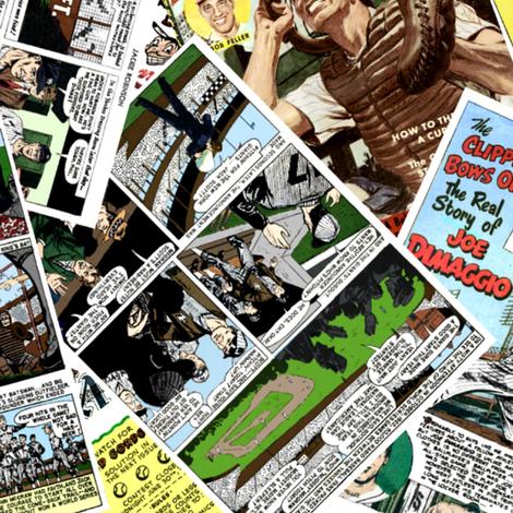 vintage comic book baseball - LARGE PRINT fabric by janbalaya on Spoonflower - custom fabric