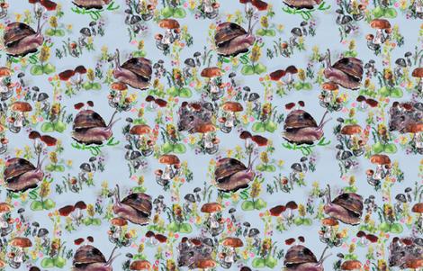 Fungi_and_snails_light_blue fabric by pettibear on Spoonflower - custom fabric