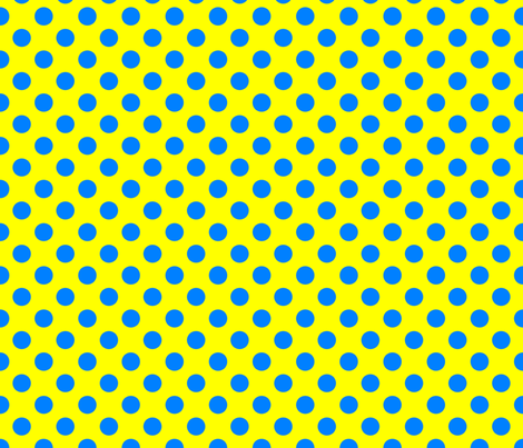 Yellow-Blue_polka-dots fabric by stradling_designs on Spoonflower - custom fabric