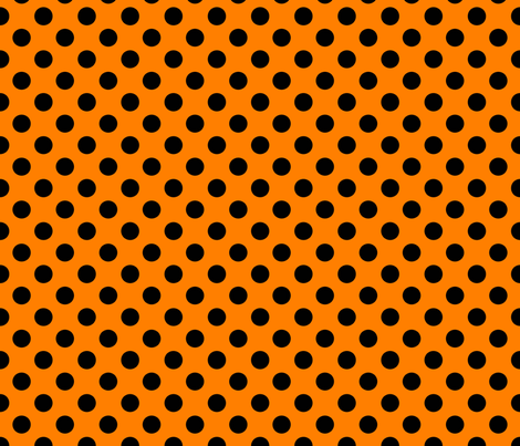 Orange-Black_polka-dots fabric by stradling_designs on Spoonflower - custom fabric