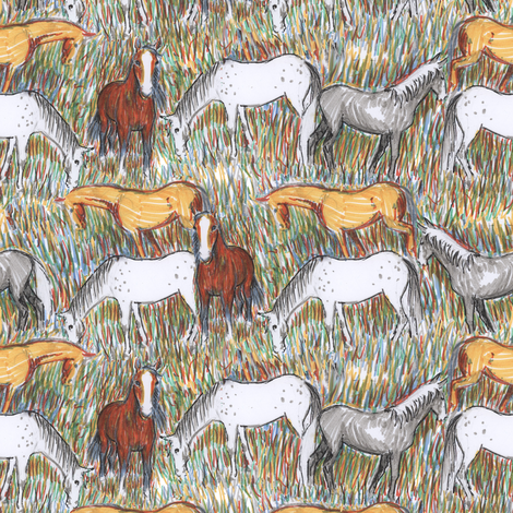 Felt tip Horses fabric by eclectic_house on Spoonflower - custom fabric