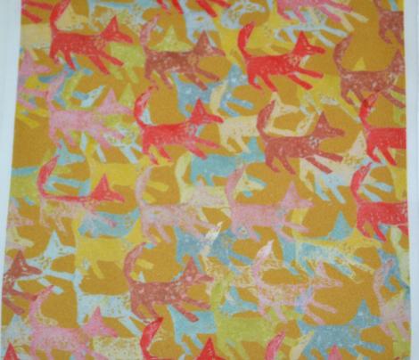 Potato Print Foxes