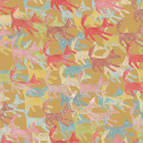 Potato Print Foxes fabric by eclectic_house on Spoonflower - custom fabric