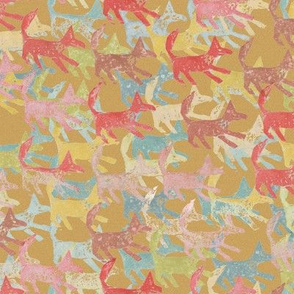 Potato Print Foxes