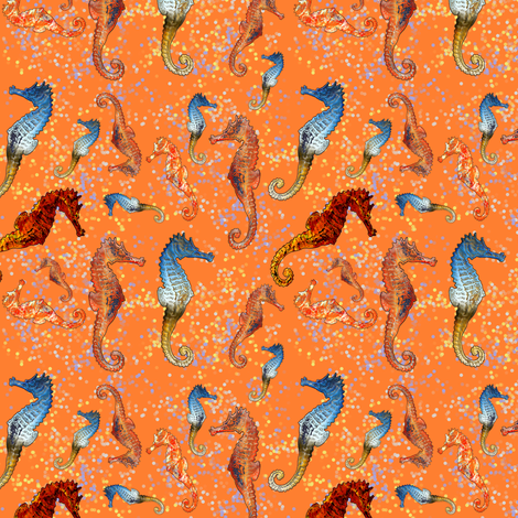 SEAHORSES BALLET ORANGE ANIMALS  NAUTICAL HIPPOCAMPUS SEA HORSE fabric by paysmage on Spoonflower - custom fabric