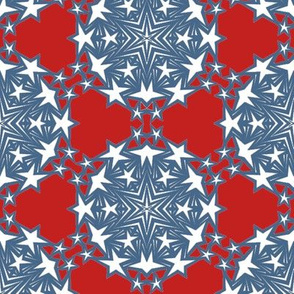 Red White and Blue Star Snowflakes