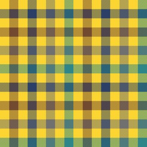 sunlit forest gingham - yellow
