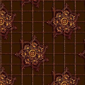 Lotus_Flower_Grid_Brown-Gold