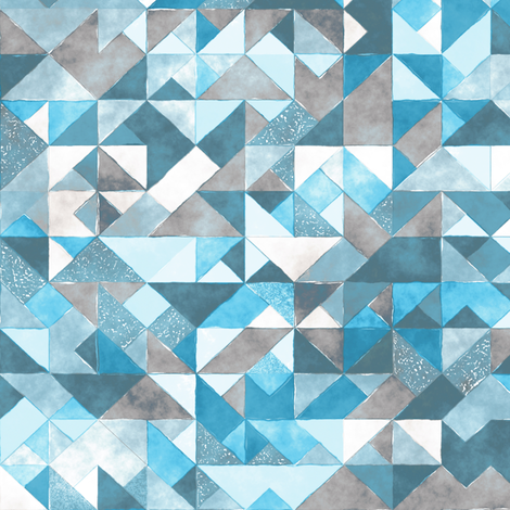 Watercolor Triangles Squares Geometric  fabric by caja_design on Spoonflower - custom fabric