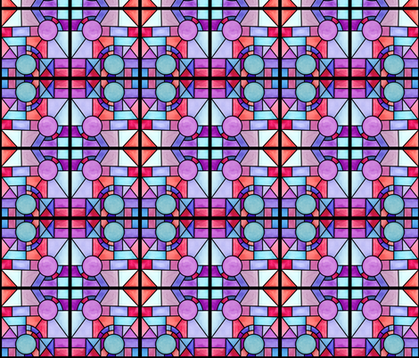 Watercolor Stained Glass Windows fabric by binge_crafter on Spoonflower - custom fabric