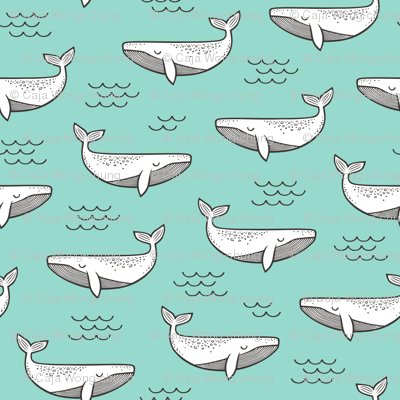 Whales on Mint Green