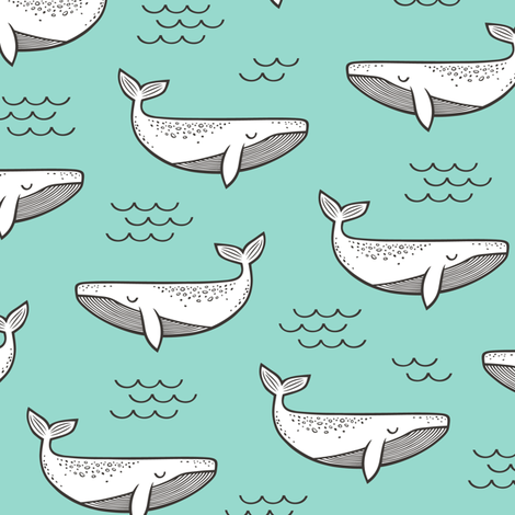 Whales on Mint Green fabric by caja_design on Spoonflower - custom fabric