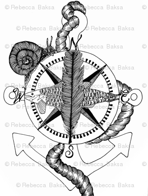 Nautical Compass Rose Black And White