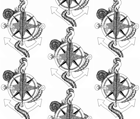 nautical compass rose black and white wallpaper