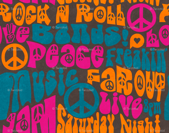 60s Rock and Roll Poster wallpaper - julia_diane - Spoonflower