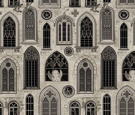 Medieval Gothic Church Windows fabric by mariafaithgarcia on Spoonflower - custom fabric