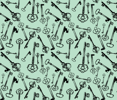 Antique Keys - Jade fabric by thinlinetextiles on Spoonflower - custom fabric