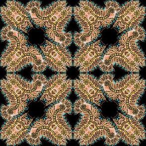 Feathery Peach and Black Kaleidoscope