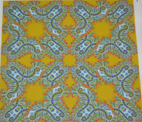 Feathery Blue and Yellow Kaleidoscope