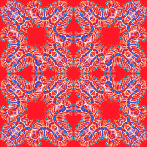 Feathery Bright Red Kaleidoscope fabric by eclectic_house on Spoonflower - custom fabric