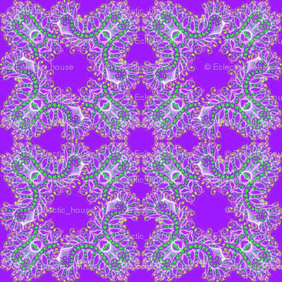 Feathery Purple and Green Kaleidoscope
