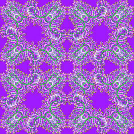 Feathery Purple and Green Kaleidoscope fabric by eclectic_house on Spoonflower - custom fabric