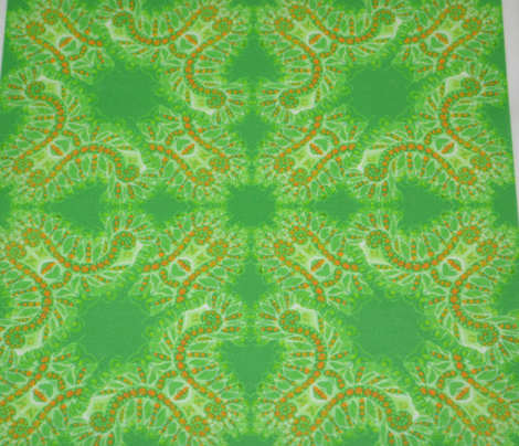 Feathery Green and Orange Kaleidoscope