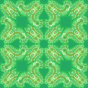 Feathery Green and Orange Kaleidoscope