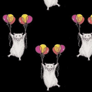 Hamsters with Helium Balloons on Black Background