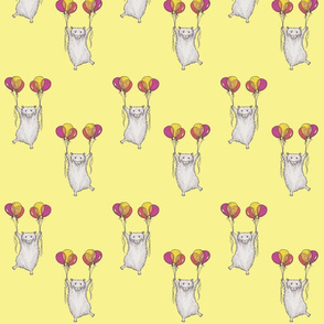 Hamsters and Helium Balloons on Yellow Background