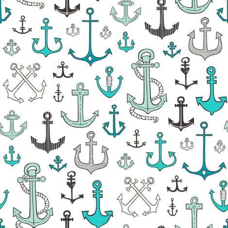 Anchors in Mint Green fabric - caja_design - Spoonflower