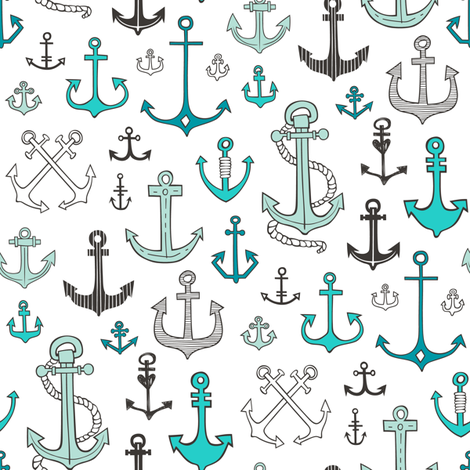 Anchors in Mint Green fabric by caja_design on Spoonflower - custom fabric