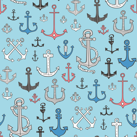 Anchors in Blue fabric by caja_design on Spoonflower - custom fabric