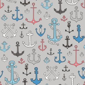Anchors in Blue Red on Grey