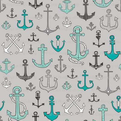 Anchors Black&White Mint Green on Grey